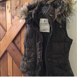 Abercrombie fur hooded vest